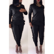 Lovely Casual Stringy Selvedge Black Blending Two-piece Pants Set