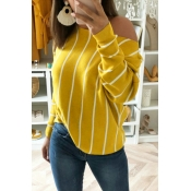 Lovely Trendy Striped Yellow Knitting Blouses