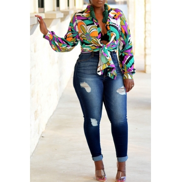 Lovely Euramerican Floral Printed Multicolor Shirts