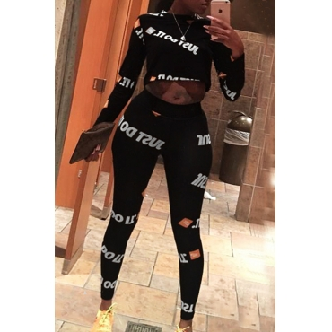 Lovely Casual Letters Printed Black Two-piece Pants Set