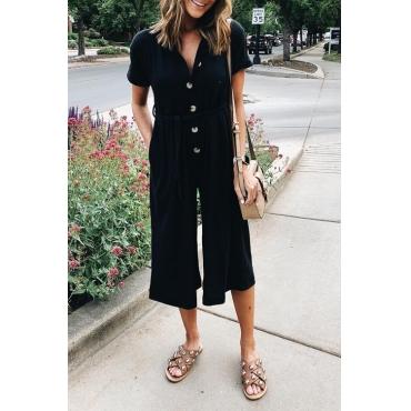 Lovely Fashion Loose Black Blending One-piece Jumpsuit