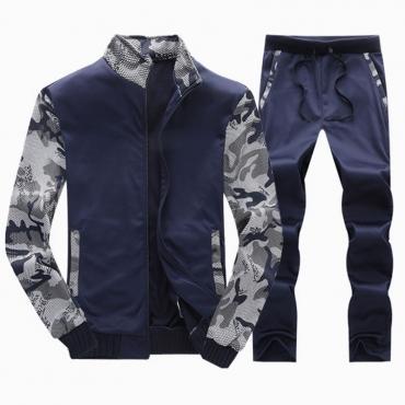 Lovely  Casual Patchwork Deep Blue  Cotton Two-piece Pants Set