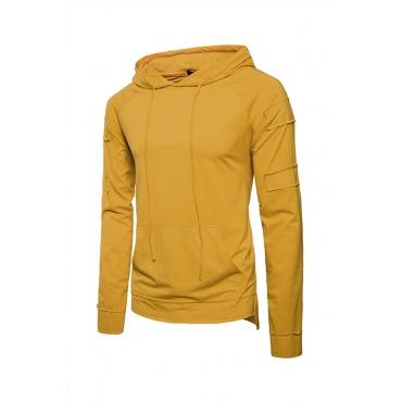 Lovely Euramerican Hooded Collar Yellow Cotton T-shirt