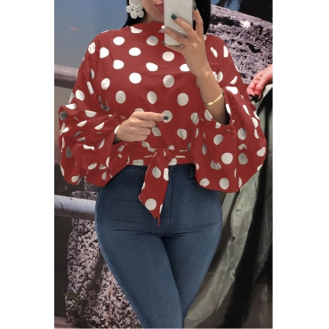 Lovely Trendy Dots Printed Red Blouses