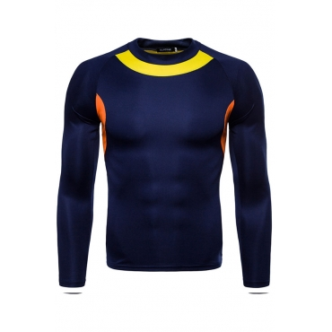 Lovely Casual Patchwork Navy Blue Cotton T-shirt