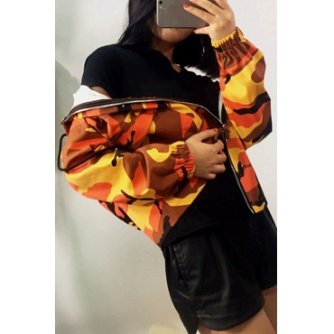 Lovely  Casual Camouflage Printed Yellow Spandex Coat