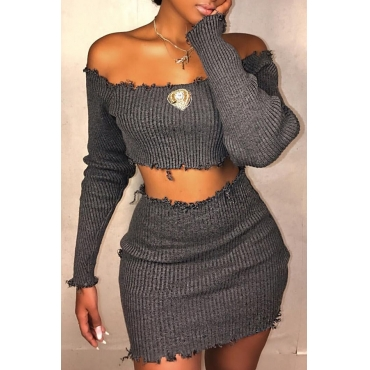 Lovely Casual Dew Shoulder  Grey Knitting Two-piece Skirt Set