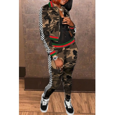 Lovely Sportswear Camouflage Printed Army Green Two-piece Pants Set