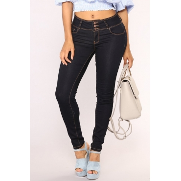 Lovely Casual Buttons Design Skinny Black Jeans