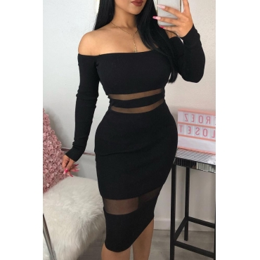 Lovely Sexy Patchwork Slim Black Knee Length Dress
