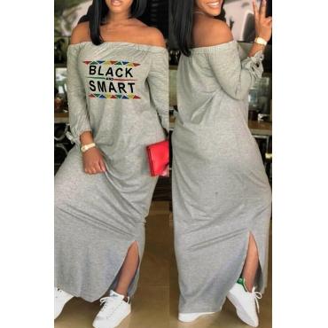 Lovely Euramerican Dew Shoulder Letters Printed Light Grey Ankle Length Dress