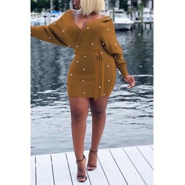 Lovely  Fashion Nail Bead Design Brown Acrylic Mini  Dress