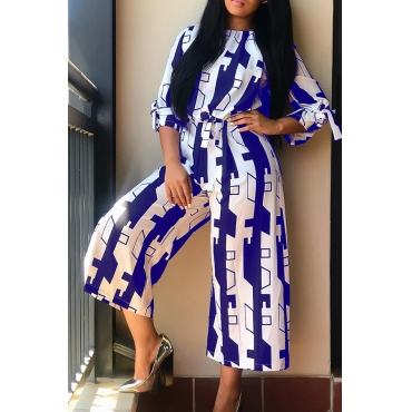 Lovely Leisure Printed Loose Blue Blending One-piece Jumpsuit