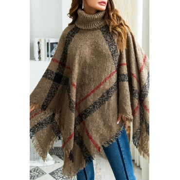 Lovely Trendy Cloak Design Torn Edges Brown Sweaters