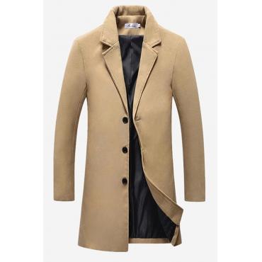 Lovely Casual Buttons Design Long Khaki Cotton Coat