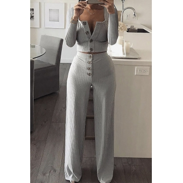 Lovely Euramerican Buttons Design Grey Two-piece Pants Set