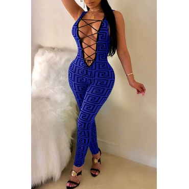 Lovely Sexy Printed Hollowed-out Skinny Royal Blue One-piece Jumpsuit