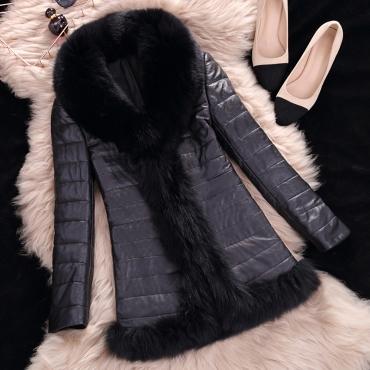 Lovely Casual Patchwork Black Faux Fur Coat
