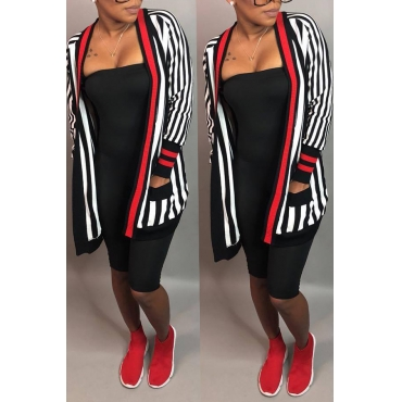 Lovely Casual Striped Multicolor Coat