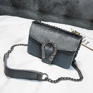 Lovely Retro Chain Grey Velvet Messenger