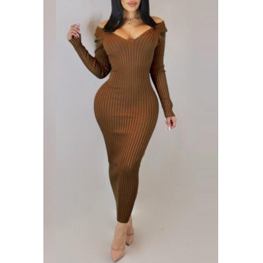 Lovely Casual Long Sleeves Slim Brown Ankle Length  Dress