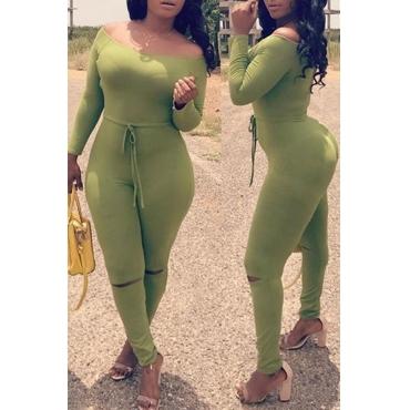 Lovely Euramerican Dew Shoulder Skinny Green One-piece Jumpsuit