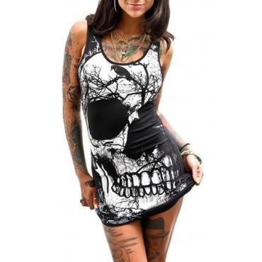 Lovely  Euramerican Skull Printed Black Mini Dress