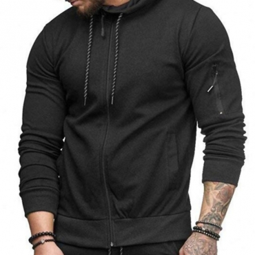 Lovely  Casual Hooded Collar Black Cardigan  Hoodies