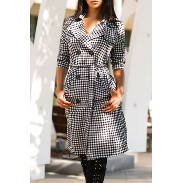 Lovely Casual Work Grids Printed Black Long Trench Coats