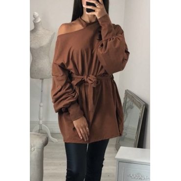 Lovely  Casual Hollowed-out Long Brown Sweats