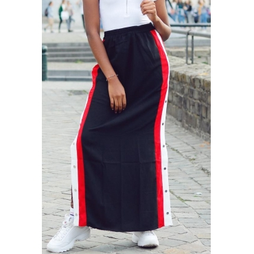 Lovely Casual Rivet Decorative  Black Ankle Length Skirts