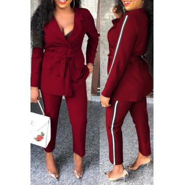 Lovely Euramerican Buttons Decorative Wine Red Two-piece Pants Set