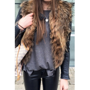 Lovely Casual Downy Brown Faux Fur Vests