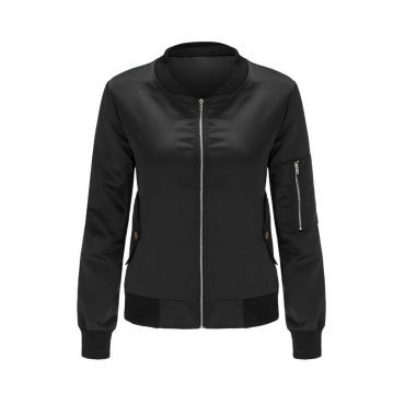 Lovely Casual Long Sleeves Zippers Design Black Jacket