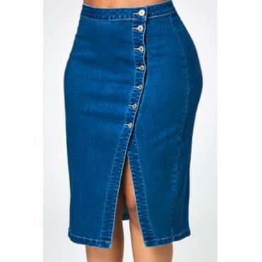 Lovely  Casual Buttons Design Deep Blue Denim Knee Length Skirts