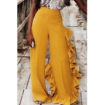 Lovely Vogue Flounce Design Yellow Twilled Satin Pants