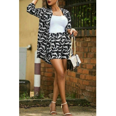 Lovely Trendy Grids Printed Black Twilled Satin Two-piece Shorts Set
