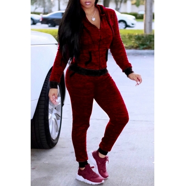 Lovely Casual Basic Zipper Design Wine Red Two-piece Pants Set