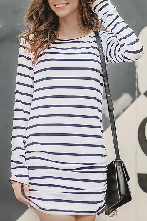 Lovely Leisure Round Neck Striped White Cotton Blend Mini Dress