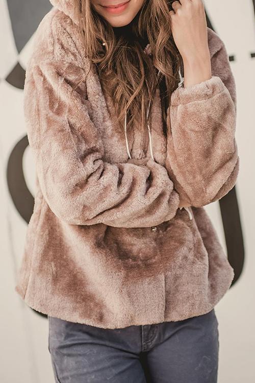 Lovely Chic Hooded Collar Zipper Design Pinkish Purple Velvet Hoodies