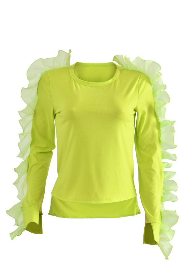 Lovely Sweet Flounce Design Yellow T-shirt