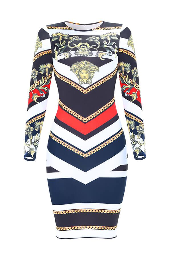Schönes, Modisches Poker Bedrucktes Rotes Knielanges Kleid