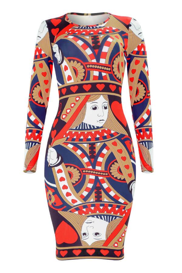 Lovely Trendy Poker Printed Red Knee Length Dress