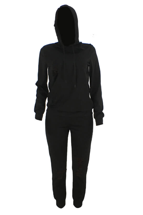 Lovely Casual Hooded Collar Broken Holes Black Blending Two-piece Pants Set