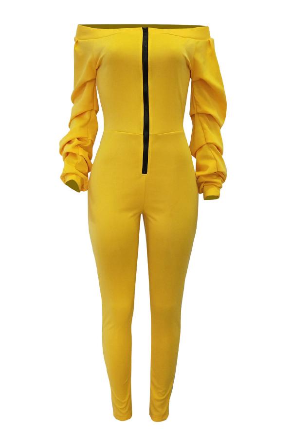Encantador Mono De Una Sola Pieza De Algodón Amarillo Flaco Hombro De Rocío