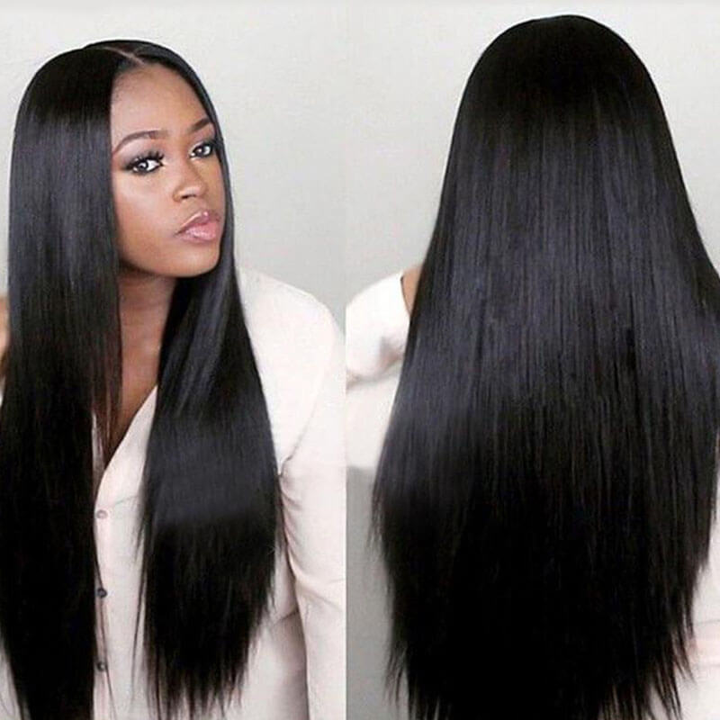 Lovely Euramerican Natural Looking Straight Long Black Wigs