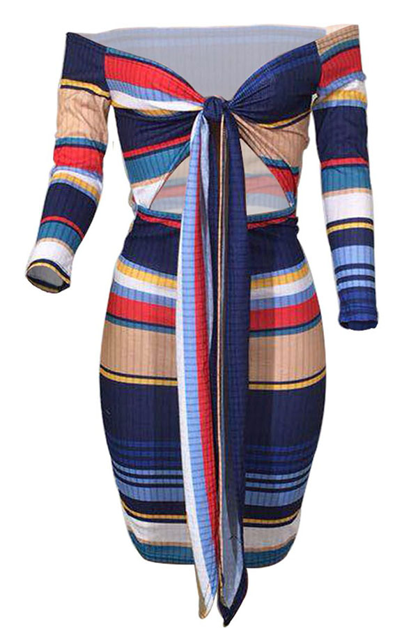 Lovely Casual Striped Knot Design Blue Knitting Knee Length Dress