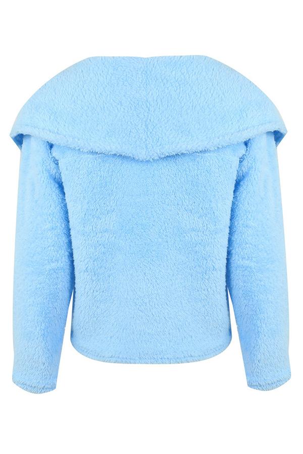 Lovely  Casual Long Sleeves Light Blue Coat