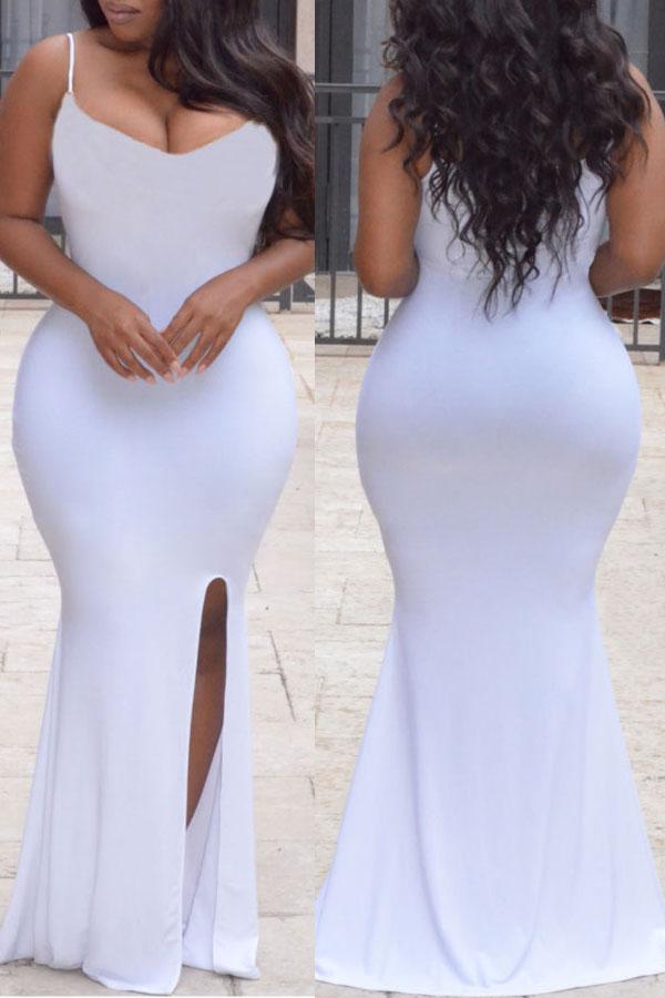 Lovely Elegant Evening Gown White Knitting Floor Length Dress