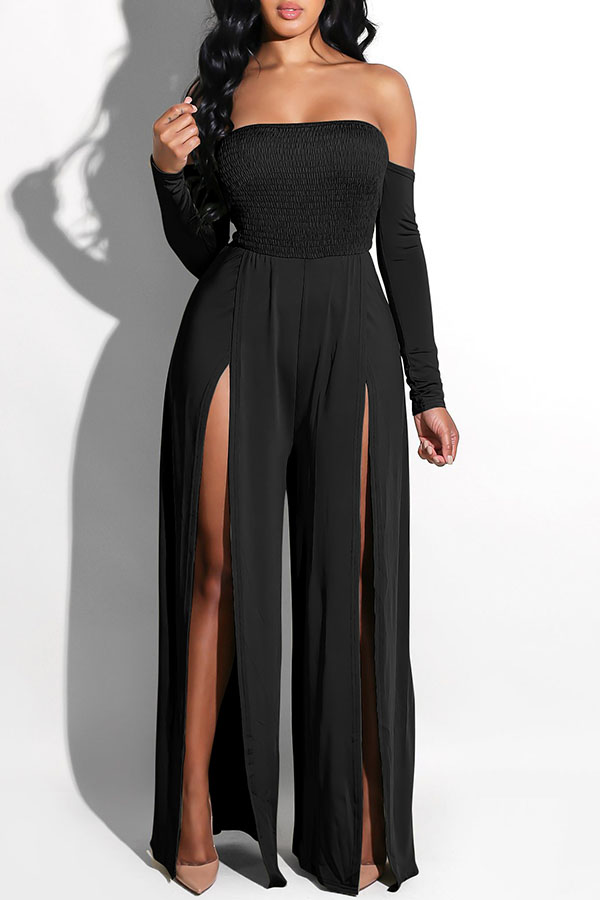 Lovely Casual Side High Slit Black Knitting One-piece Jumpsuit
